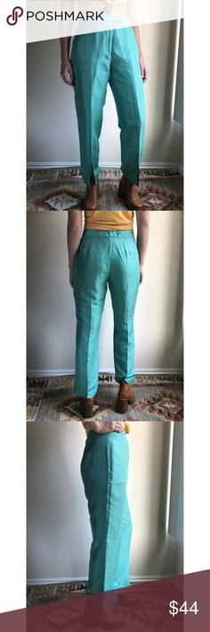 "Vintage✨100% silk teal split-leg trousers These bright aquamarine teal pants are so beautiful in person. High waist and straight leg styling, with super rad front seaming and slits in the legs, creating a unique movement when you walk. 100% quality silk with a little bit of woven texture and subtle shine. Pair with a vintage ivory silk blouse for the look. Marked size 8, use measurements flat: waist 14"", rise 11.5"", hip 21"", inseam 28"". Model is 5'6"" with 26"" waist, size 2. Vintage Pants…"