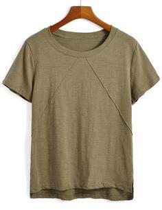 Shop Dip Hem Army Green T-shirt online. SheIn offers Dip Hem Army Green T-shirt & more to fit your fashionable needs.