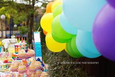 EASY balloon arch for rainbo w party...cutest pasta Salad  ever