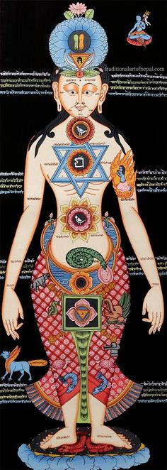 This colorful thangka painting depict the so called 'Chakraman' or the Yogi of the seven chakras. All the symbols are important to define both the body parts and the importance of each chakra. Thangka Painting, Seven Chakras, New Gods, Symbols, Culture, Body Parts, Astrology, Colorful, Kunst