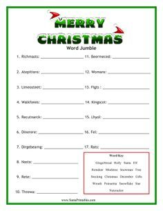 Great for people who like holiday scrambles, this free, printable Christmas word jumble has lots of festive words like gingerbread, mistletoe, wreath and reindeer. Free to download and print