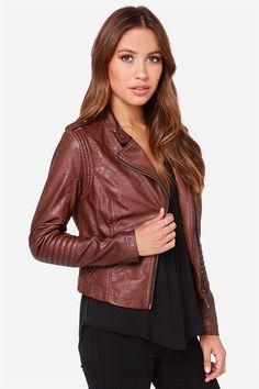 Black Swan Heart Burgundy Vegan Leather Moto Jacket at Lulus.com!