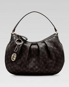 V1CZ0 Gucci Sukey Guccissima Leather Medium Hobo Bag, Black