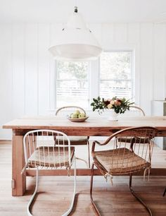 dining room with shiplap walls and industrial pendant lamp. / sfgirlbybay