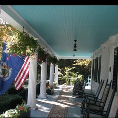Front porch of The Whitehall Inn,Camden Maine
