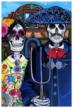 Mex Am Gothic by Melody Smith Day of the Dead Sugar Skull Art Print
