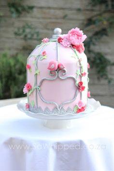 Baby Shower Pink Birdcage Cake. Raspberry and White Chocolate. Mom & baby bird.