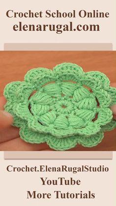 Crochet Flower Tutorial, Crochet Instructions, Diy Crochet, Crochet Flowers, Crochet Puff Flower, Crochet Dollies, Crochet Leaf Patterns, Crochet Circles, Knitting Patterns