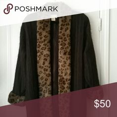 Sweater coat Lovely  fingertip length, cable sweater cashmere  like with leopard faux fur shawl collar and cuffs Belldini Sweaters Cardigans