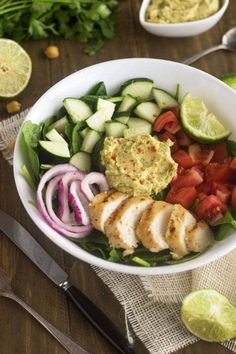 Tried & liked-Panera Hummus Chicken Power Salad Copy Cat {GF, Low Fat, Low Calorie, Easy + High Protein} - Food Faith Fitness Salad Recipes Video, Healthy Salad Recipes, Healthy Foods To Eat, Healthy Snacks, Healthy Eating, Edamame, Pastas Recipes, Cooking Recipes, Antipasto