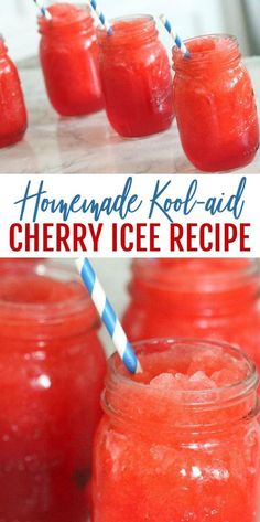 Homemade Cherry Icee Recipe for Summer Homemade Kool-Aid Cherry Icee Recipe! Easy Snack or Frozen Drink Recipe for Summer! This is a kid-friendly Recipe perfect for days by the pool or Birthday Parties! Kid Drinks, Frozen Drinks, Yummy Drinks, Frozen Drink Recipes, Beverages, Milkshake Recipes, Kool Aid, Party Food Homemade, Homemade Icee Recipe