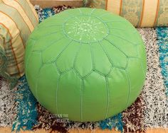 Moroccan Ottoman Pouf Lime Green