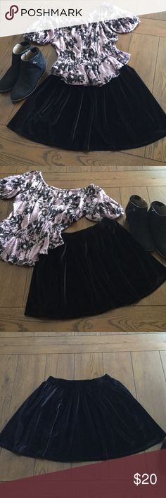 "💕Velvet skater skirt excellent condition Velvet like Circular skirt So soft nice material No flaws. Across waist is 12"" with plenty of stretch to 15"" length is 16"" very cute with tights and booties. Smoke free home ecate Skirts Circle & Skater"