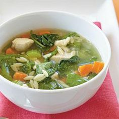 Nothing says comfort like a bowl of hearty chicken soup. Pair with a sandwich for a simple, comforting dinner option.