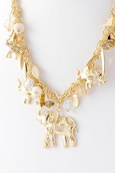 Filigree Elephant Charm Necklace