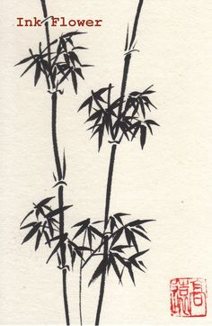 small Bamboo,Japanese/ Chinese style Ink drawing of Bamboo. $15.00, via Etsy.