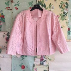 Vintage 1950s Plus Size Pink Lace Open Jacket. by AfterlifeVTG
