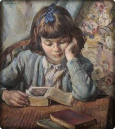 The Young Reader (1945). Miguel Mackinlay (Spanish,1895-1958). Oil on canvas. Leamington Spa Art Gallery & Museum. Portrait of the artist's daughter, aged nine. She is sitting at a table reading a book with two other books close at hand.