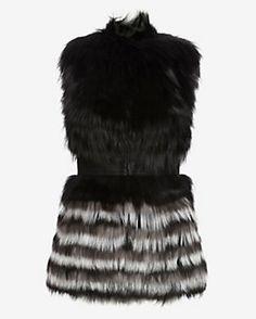 Yigal Azrouel Leather Waist Fur Vest