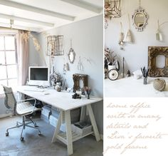 home office - neutral tones, exposed beam roof, cute and cosy