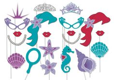 Mermaid party photo booth props - printable - Under the Sea party, The little mermaid, Pool party
