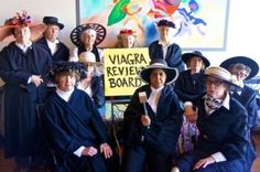 """Photo taken of members of the Raging Granny VRB (Viagra Review Board) in response to moves by Republicans to limit women's right to reproductive health. Members of the review board are all women who came of age before Roe v. Wade. From their headquarters in Palo Alto they announced that they are old enough to know what it was like to live before women's reproductive rights became the law of the land, and they will do all they can to make sure the US does not return to that era."""