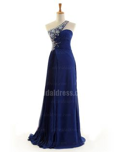 navy blue rhinestones one shoulder long prom dress