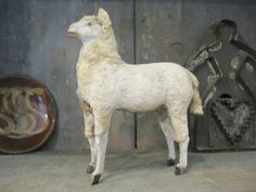 19th C. Antique Putz Wooly German Christmas Sheep