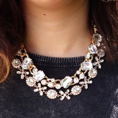 """Crystal Gold Chain Necklace NWT. 17"""" in length with 3"""" extension. Glass crystals. Makes a beautiful gift for the holidays!   top necklace in photos only- see 3rd photo T&J Designs Jewelry Necklaces"""
