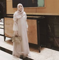 Frilled Abaya new color in Baby Pink 💕 . Hijab Gown, Kebaya Hijab, Hijab Dress Party, Hijab Style Dress, Kebaya Dress, Dress Pesta, Casual Hijab Outfit, Dress Outfits, Fashion Dresses
