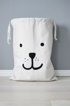 Bear fabric bag storage of toys books or teddy bears  by Tellkiddo