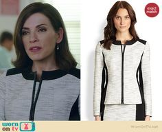 Alicia's white tweed jacket with black trim on The Good Wife.  Outfit Details: http://wornontv.net/37806/ #TheGoodWife