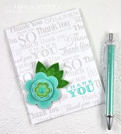 Floral Thank You Card by Dawn McVey for Papertrey Ink (June 2014)