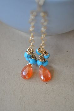 Mystic Carnelian and Turquoise by LFJewelryDesigns on Etsy, $34.00