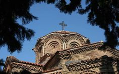 Picture of Typical orthodox Sveta Bogorodica Perivlepta church - Macedonia - Europe Macedonia Ohrid, Continents, Barcelona Cathedral, Greece, Around The Worlds, Europe, Explore, Mansions, Country