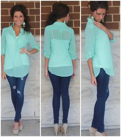 Mint 3/4 sleeve blouse, skinnies and nude heals <3