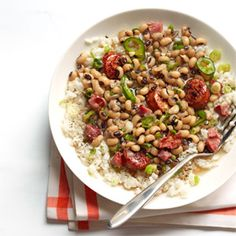 Louisiana Hoppin' John...with greens and cornbread on January 1 for health, wealth, and good luck in the new year.