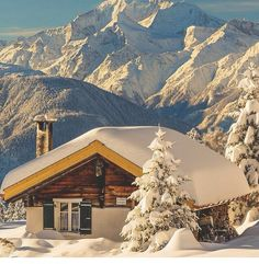 Swiss chalet in the Alps