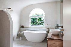 GET THE LOOK MAIN BATHROOM — THREE BIRDS RENOVATIONS Bathroom Shop, Bathroom Wall, Bathroom Ideas, Hanging Pans, Three Birds Renovations, Double Hung Windows, Standing Bath, Cottage Renovation, Bath