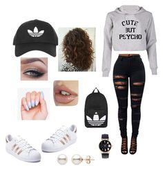 """""""Cute but Psycho"""" by santosashley ❤ liked on Polyvore featuring Topshop and adidas"""