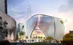 Image 1 of 5. Street level view of the Xiqu Center, by Bing Thom Architects and Robert Lu & Partners. Photo ©West Kowloon Cultural District Authority.