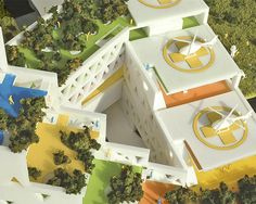 FOCO archive: Model detail of terraces and void created by the three departmental bars for GABON Ministry of Parks #urbanism #architecture #foco