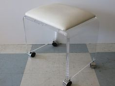 Mid-Century Modern Waterfall Lucite Vanity Stool/Bench With Chrome Casters. by FLORIDAMODERN on Etsy