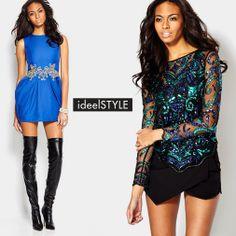 ideelSTYLE Holiday Show-Stoppers -                                                                        Swarovski Crystal Emerald Cut Bracelet                                 Swarovski Crystal Square Bracelet                                 Long Sleeve Sheer Sequin Top                                 Deep V-Neck Dress With...  #Blazer, #Boot, #Bustier, #Cap, #Clutch, #Diamond, #Dress, #Jacket, #Mirror, #Pant, #PostBack, #Pullon, #Pullover, #Rhinestone, #Romper, #Sanda