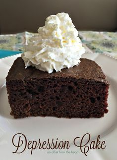 This recipe is from the time of the Great Depression, it's a moist and light chocolate cake made without eggs or dairy.
