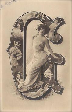 Elise de Vere, Belle Epoque French Theatre Actress Alphabet Letter G Fantasy as Greco Roman Goddess, Original 1900s Rare German Postcard