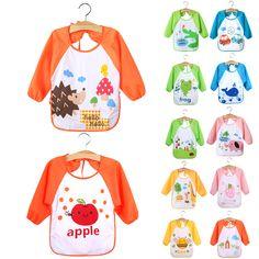 Cool New Children Baby Todders Waterproof Long Sleeve Art Smock Bibs Apron Cartoon Feeding baberos bavoir clothing - $4.83 - Buy it Now!