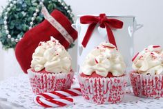 "Passion 4 baking ""Red Velvet Cupcakes with Mascarpone Cream Cheese Icing and Crushed Candy Cane"