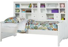 picture of Cottage Colors White 5 Pc Twin Bookcase Wall Bed  from Beds Furniture