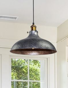 Add a little design flair to your home with this chic pendant light. Inspired by industrial and farmhouse fixture styles, the metal shade hangs from an adjustable chain for an eye-catching, minimal look full of style. Industrial Pendant Lights, Kitchen Pendant Lighting, Dining Room Lighting, Industrial Light Fixtures, Table Lighting, Pendant Lamps, Light Pendant, Vintage Industrial Decor, Industrial House